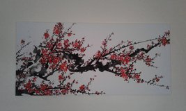 Large red blossom canvas in Lakenheath, UK