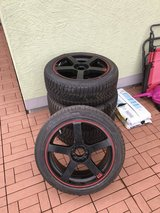 "18"" 5x100/5x114.3 Motegi staggered winter wheel set in Spangdahlem, Germany"
