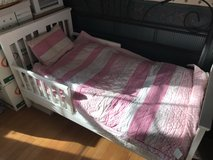 White Toddler bed with bedding in Bartlett, Illinois