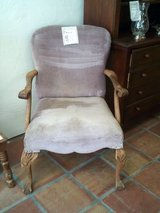 Wood chair, lavender cloth seat and back in Alamogordo, New Mexico