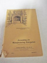 Vintage Accounting for Manufacturing Enterprises Book (1948) in Glendale Heights, Illinois