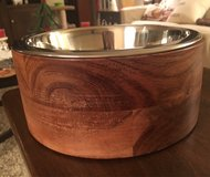 Wood/Metal Dog Bowl in Naperville, Illinois