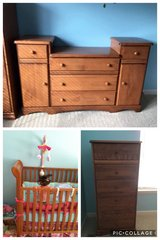 Crib, Changing Table and Tall Dresser in Oswego, Illinois