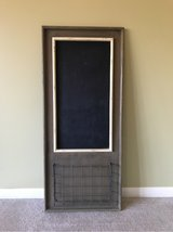 FARMHOUSE HANGING CHALKBOARD WITH METAL WIRE BASKET in Bolingbrook, Illinois