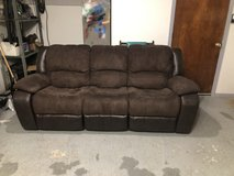 3 Person brown reclining sofa/couch in Lawton, Oklahoma