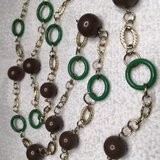 Vintage Necklace Long Gold Links Green Circles Brown Beads Large Mint Condition in Houston, Texas