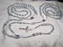 Lasso Wedding Rosary Jade Light Powder Blue Czech Crystal Accents Moonstone Pater Beads Full Col... in Kingwood, Texas