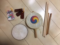 Okinawa hand held drum (2) and sticks (4) and Sanba in Okinawa, Japan
