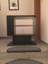 Black TV Stand with Glass Door and Storage in Ramstein, Germany
