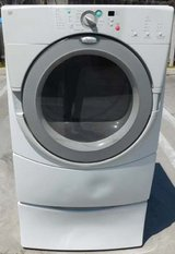 FRONT LOAD WHIRLPOOL DUET GAS DRYER WITH STAND in Oceanside, California
