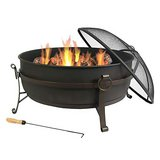 Sunnydaze Large Outdoor Fire Pit with Spark Screen, 34 Inch Steel Cauldron in Perry, Georgia
