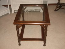 Vintage Wood Framed End Table with Glass Top in Naperville, Illinois