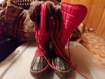 Red snow boots in Cherry Point, North Carolina