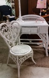 Wicker desk/vanity & Chair in Clarksville, Tennessee