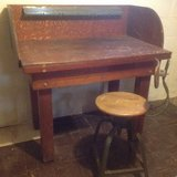 Vintage work bench and chair in St. Charles, Illinois