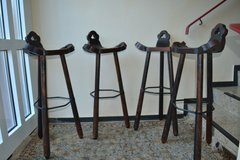 2 of 4  Antique Bar stools Bar Stool 1950's 60's Wooden Stools  Very rare * Industrial Vintage d... in Wiesbaden, GE