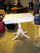 antique mahogany swivel top game table signed in Cherry Point, North Carolina