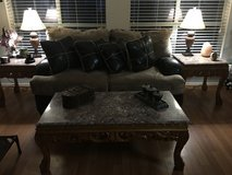 Loveseat with leather pillows in Baytown, Texas