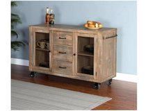 INVENTORY SALE! LUXURIOUSLY SHABBY CHIC SOLID HEAVY WOOD SERVIER W/METAL WHEELS! in Camp Pendleton, California