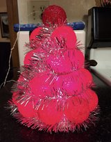 Vintage Small Red Light Up Christmas Tree w/Silver Garland in Glendale Heights, Illinois