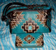Montana West Aztec Turquoise & Brown Handbag Purse & Matching Wallet in Alamogordo, New Mexico