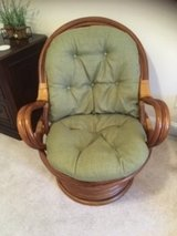 2 Rattan Chairs with Upholstered Cushions in Wilmington, North Carolina