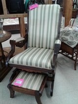 Eastlake Style Rocker with Footstool #1472-6518 in Camp Lejeune, North Carolina
