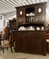 beautiful oak dining room hutch from the turn of the century with bevelled glass in Stuttgart, GE
