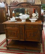 very precious hand carved tiger oak credenza with matching mirror in Spangdahlem, Germany