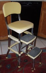 50's style pale yellow retro step stool chair in Elgin, Illinois