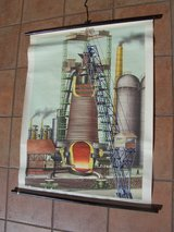 1960's German School Poster (Blast Furnace (Hockofen) +1 One Thousand Mark Reichbanknote in Wiesbaden, GE