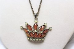 """Silver Tone Crown Gem Stones Mother of Pearl Necklace Statement Pendant 30"""" in Kingwood, Texas"""