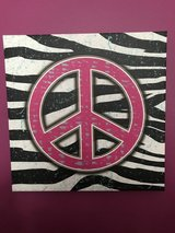 "Peace sign, zebra print on canvas (14"" x 14"") in Joliet, Illinois"