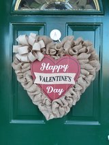 Happy Valentine's Day Burlap Heart Wreath in Naperville, Illinois