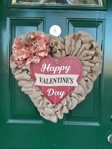 Happy Valentine's Day Burlap Heart Wreath #2 in Naperville, Illinois