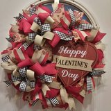 Happy Valentine's Day Mesh Wreath in Naperville, Illinois