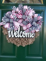 Welcome Burlap Wreath in Naperville, Illinois
