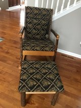 Rustic wood rocking chair with ottoman in Naperville, Illinois