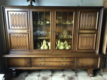 nice mid century walnut cabinet with stained glass in Spangdahlem, Germany