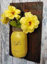 Vintage Wooden Decoration with Mason Jar in Yellow in Schweinfurt, Germany