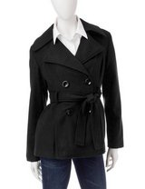 ***BRAND NEW***Ladie's Black Belted Peacoat***SZ L in Houston, Texas