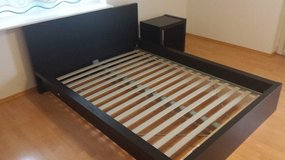 Full Size IKEA bed frame, box spring slats and night stand in Stuttgart, GE