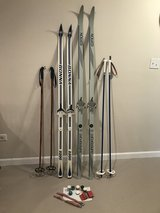 (2) Pair Vintage WAXLESS CROSS COUNTRY SKIS/POLES/WAXES/STRAP CLAMPS in Glendale Heights, Illinois
