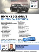 2019 BMW X3 xDrive30i Military Sales Edition !! in Ramstein, Germany