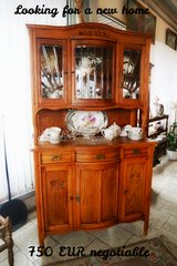 elegant Art Nouveau dining room hutch with double facetted glass in Spangdahlem, Germany