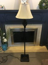 Oil rubbed bronze floor lamp with cream shade in Joliet, Illinois