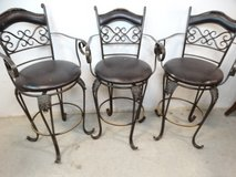 Tall Black Leather & Metal Stool Style Chairs in League City, Texas