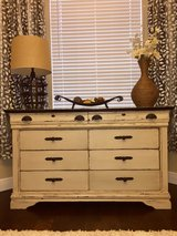Distressed Off-White Buffet/Dresser with Black Top in Houston, Texas