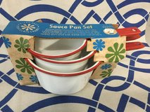 Vintage enamelware sauce pan set in Naperville, Illinois