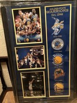 Golden State Warriors 73-9 record season. Felt patched from Warriors History in Vacaville, California
